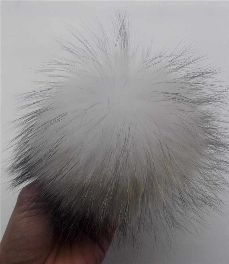 Branco Bolas de Pêlo De Malha Chapéus Cachecóis 15 cm Verdadeira Pele De Guaxinim Pom Pom Para Gorros Tampas Chave Sacos Cadeia roupas Acessórios De Pele