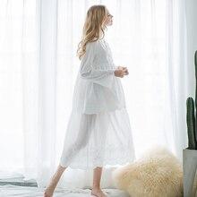 Women Sleep Lounge Cotton Nightgown Long sleeve Sleepwear Sleepshirts Cotton Vintage Nightdress Pregnant Women Nightwear