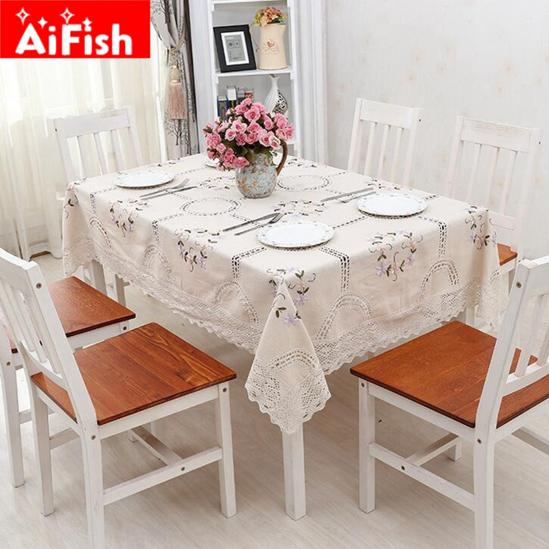 New pastoral classical cotton 3d embroidery fabrics tablecloth coffee table cloth multi purpose Coffee table tablecloth