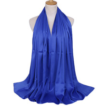muslim women hearwear shawls satin polyester scarfs hijab girls face cover silk stoles plain for ladies