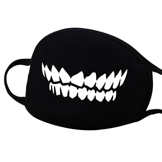 1 Pcs Cotton Masks Keep Warm Cartoon Funny patten Face Mouth Mask Unisex banquet party Mouth Muffle Respirator black 12 Style 5