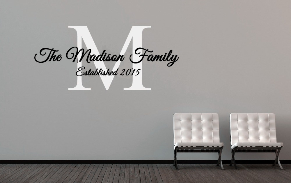 Personalized Family Name Established Date Vinyl Wall Decal Family - Family monogram wall decals