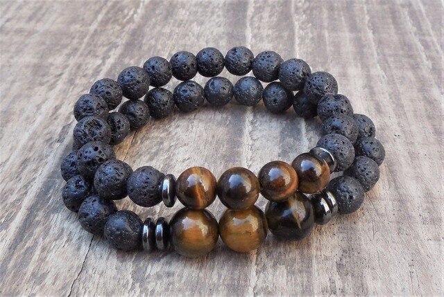 2pc Set Natural Stone 8mm Tiger Eye Lava Bracelet Distance Bracelets Yoga Mala