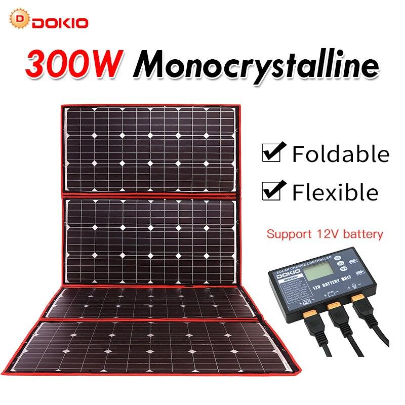 Dokio 300W 12V Flexível Painel Solar Dobrável Painel Solar Portátil Ao Ar Livre Para Camping/Barco/RV/ viagem/Home/Car kits painel Solar