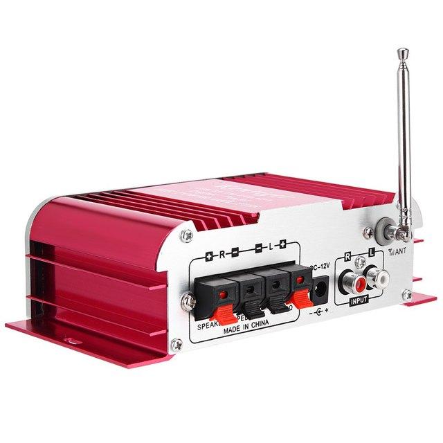 Car Amplifier Hi-Fi Digital Auto Stereo Power Amplifiers Sound Mode Audio Music Player USB MP3 DVD SD MMC FM Red No Power Plug