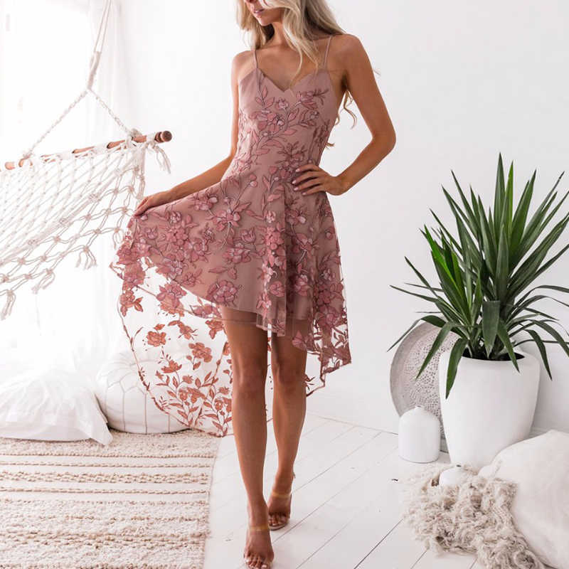 Embroidery Sexy Sling Long Dress Summer Spring Pink Flower Lace Mesh Party Dresses Women Club Casual Vintage Beach Sundress