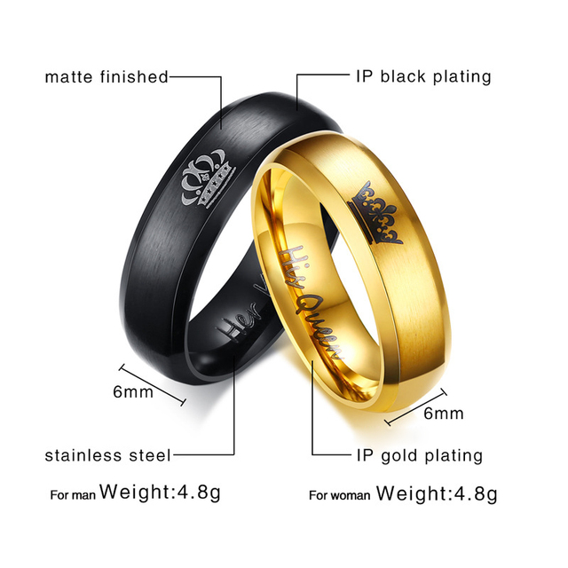 Lovers' Ring Black Gold Color Couple Ring Stainless Steel Wedding Alliance Crown Ring for Women and Men Promise Jewelry