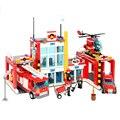 Corpo de bombeiros caminhão helicóptero modelo de construção kits brinquedos bombeiro fire rescue series figuras diy blocos de montagem presente modelo