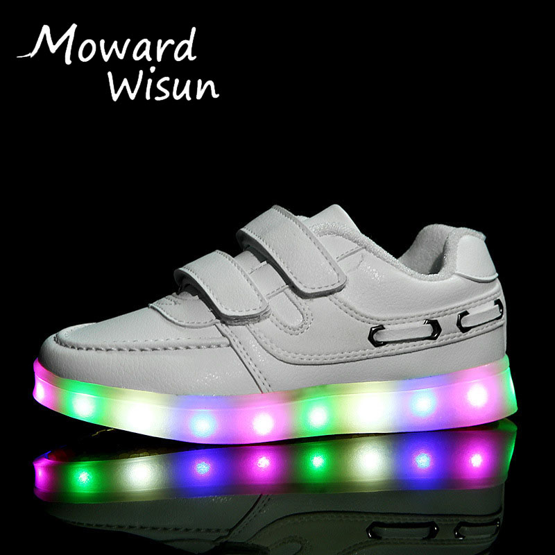 Size 25-37 USB Charging Basket Led Children Shoes With Light Up Kids Casual Boys&Girls Luminous Sneakers Glowing Shoe Pink Blue