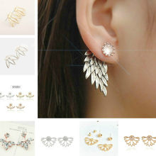 1pcs Sell Behind Ears Wings Luxury Hoop earrings For Women Round With Cubic Zircon Charm Flower Earring Women Jewelry(China)