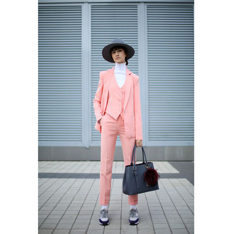 Pink 3 Piece Set Womens Business Suits Ladies Office