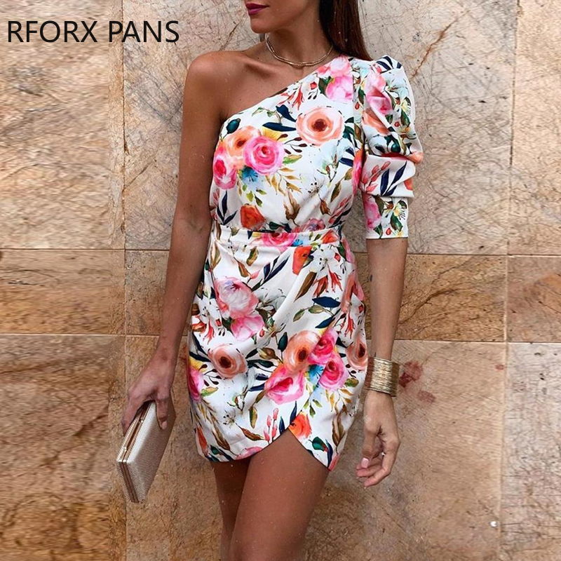 HTB1BICoe25G3KVjSZPxq6zI3XXaT - One Shoulder Floral Print Bodycon Dress
