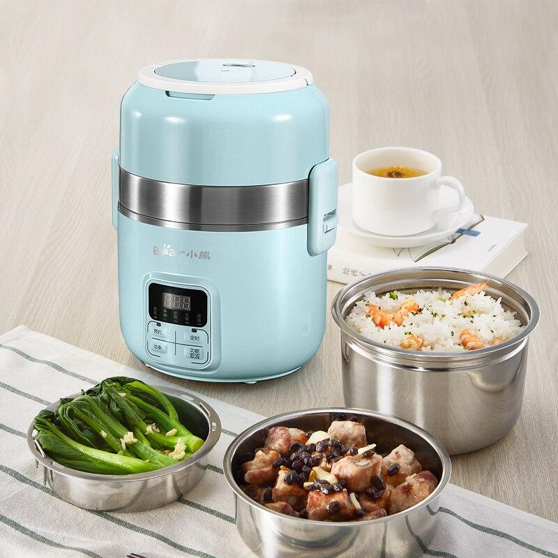 Cocina de arroz inteligente de doble capa caja de almuerzo eléctrica olla de bricolaje oficina de reserva de estudiante sincronización portátil de cocina vaporizador de arroz