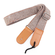 Longteam strap75cm-130cm  width of 3.9cm cotton and linen + leather uukiri shoulder strap with a tail nail light Grey