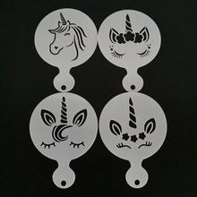 4pcs Unicorn Design Coffee Latte Cappuccino Barista Art Stencils Cookie Cupcake Latte Coffee Print Mold Cake Decorating Tools