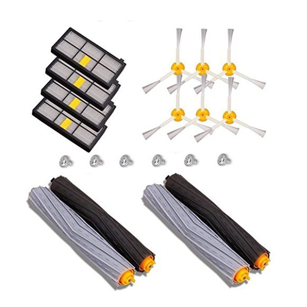 2 set Tangle-Free Debris Extractor + 4 Hepa filter + 6 side brush fit for iRobot Roomba 800 900 Series 870 880 980 cleaner parts 2 debris extractor brush 4 hepa filter 4 side brush kit for irobot roomba 800 870 880 980 vacuum cleaner accessories parts