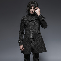 Gothic Denim Twill Fabric Loose Jacket Steampunk Man Jacquard Long Jacket Coats with Flower Pattern