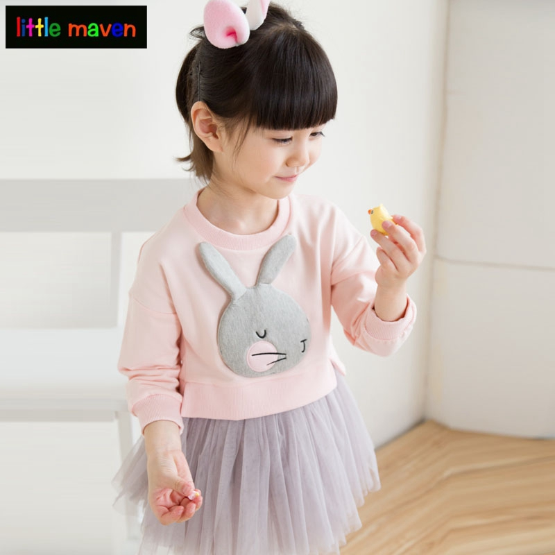 Lovely Cute 3D Rabbit Child Baby Girl Cotton Dress Korean Long Sleeve Autumn Sweet Kids Children Clothing, Pink/ Grey/ Red ins hot cute rabbit lighting rabbit child room decoration lamp korean style baby accompany night light free shipping