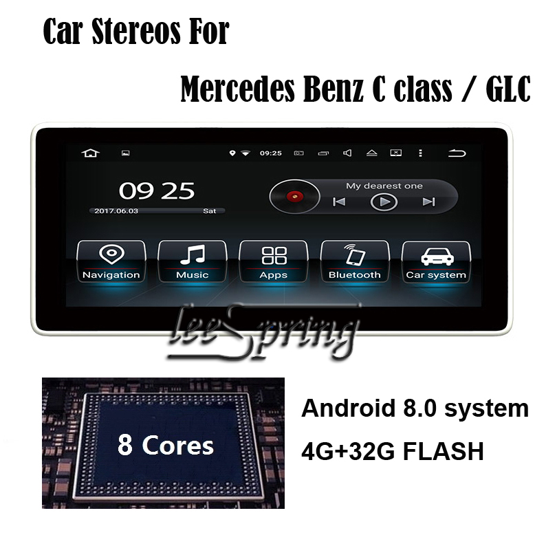 10.25 inch Anti-Reflection Android 8.0 4G+32G FLASH Car Multimedia Player Stereo for Mercedes Benz C GLC 2015-2017 цены онлайн