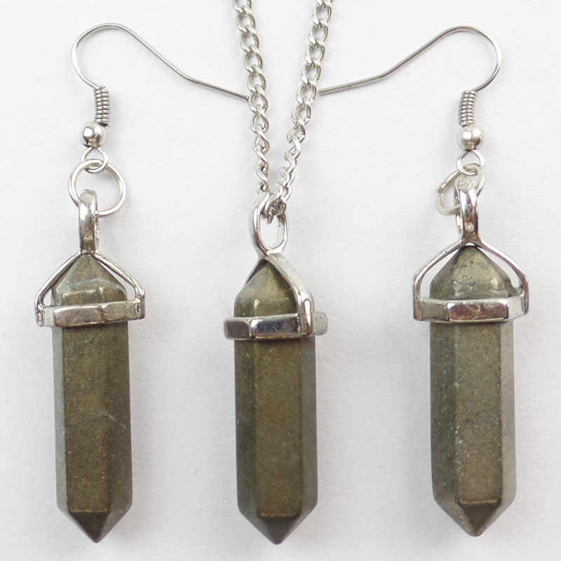 Useful Ya0643 Mixed Stone Clear Quartz Pyrite Point Bullet Casing Pendant Necklace Chain Pendant Necklaces