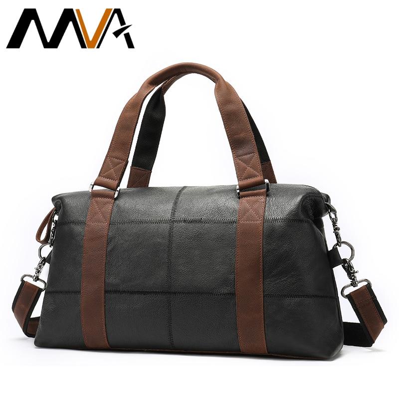 MVA Genuine Leather Men s Travel Bag Vintage Duffle Bags Large Capacity Bag Male Messenger Bag