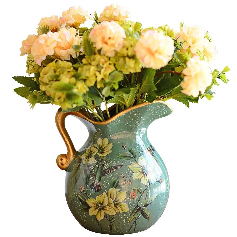 European Pastoral Retro Painted Ceramic Vase Milk Jug Vase American Country Living Room Decoration Flower Arrangement