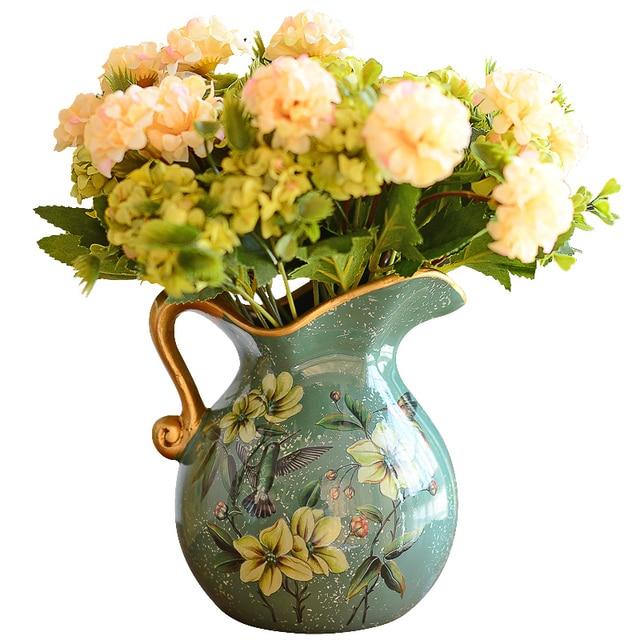 European Pastoral Retro Painted Ceramic Vase Milk Jug Vase American