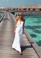 2019 Summer Tube Top Boho Maxi Dress Women Sundress White Beach Dress Strapless Long White Dresses Sexy Classy Lycra Dress