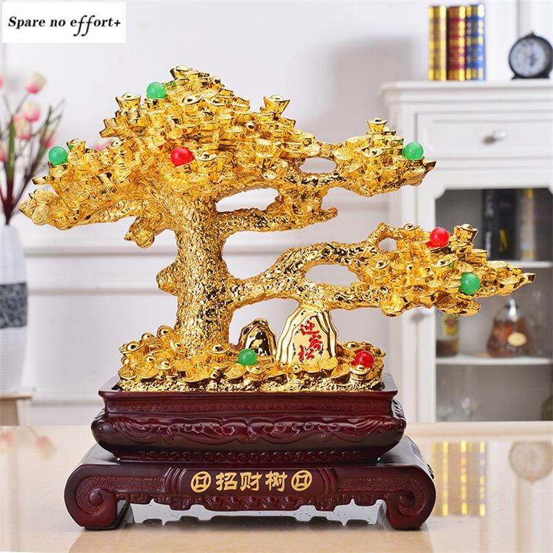 Miniature jardin artisanat or chanceux arbre Figurines décoration de la maison accessoires argent arbre artisanat entreprise ouverture cadeau riches arbres