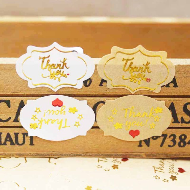 500PCSMulti Style Gold Thank You Gift Tags DIY Candy Faors Handmade Lables Happybirthday Tag Sticker