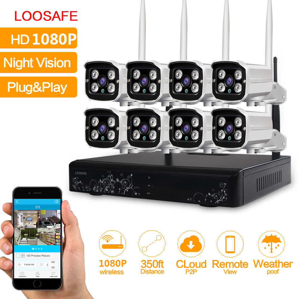 LOOSAFE 8CH Wireless 1080P CCTV Security Camera NVR Kit System Outdoor 2.0MP IP WIFI Camera IR Night Vision CCTV System 2TB ...