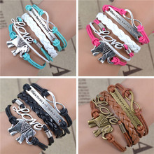 Free shipping! male female Bracelets & bangles Infinity Elephant Love manual multilayer bracelet and retro