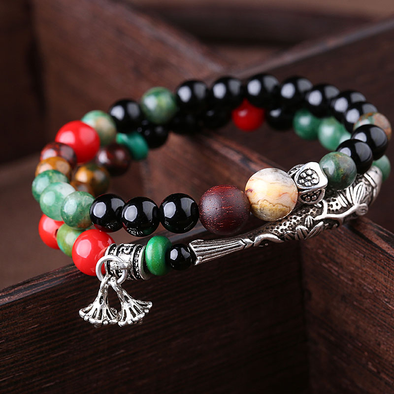 Ethnic Wind 925 Silverfish Bohemia Agate Double Circle Bracelet Duobao retro female accessories ethnic wind bracelets men and women decorations green agate 925 silver ball duobao string original jewelry