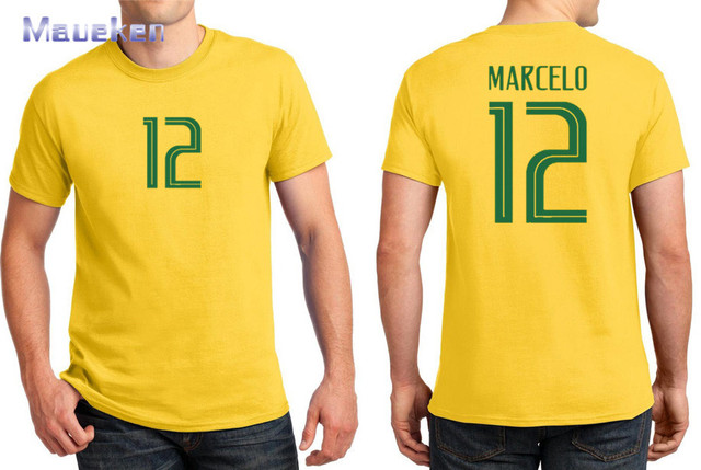 8c370937d 2018 Printed for name just a T-shirt 12 Marcelo yellow blue t shirt for brazil  brasil fans gift 0409-1