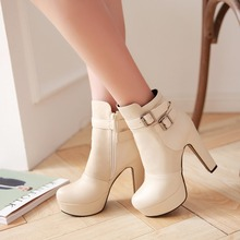 2015 New fashion winter women shoes big size 31-45 Round Toe platform high heels Buckle decoration ankle boots HLE-Q9