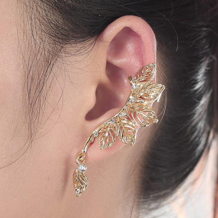 2017 Trendy Style Fashion Clip Earrings With Full Crystal Stud Ear Cuff For Women Gold Color Leaf Earring Whole In From Jewelry