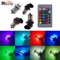 2pcs RGB LED Auto Car Headlight 9005 9006 H11 H7 5050 LED 27 SMD RGB Fog