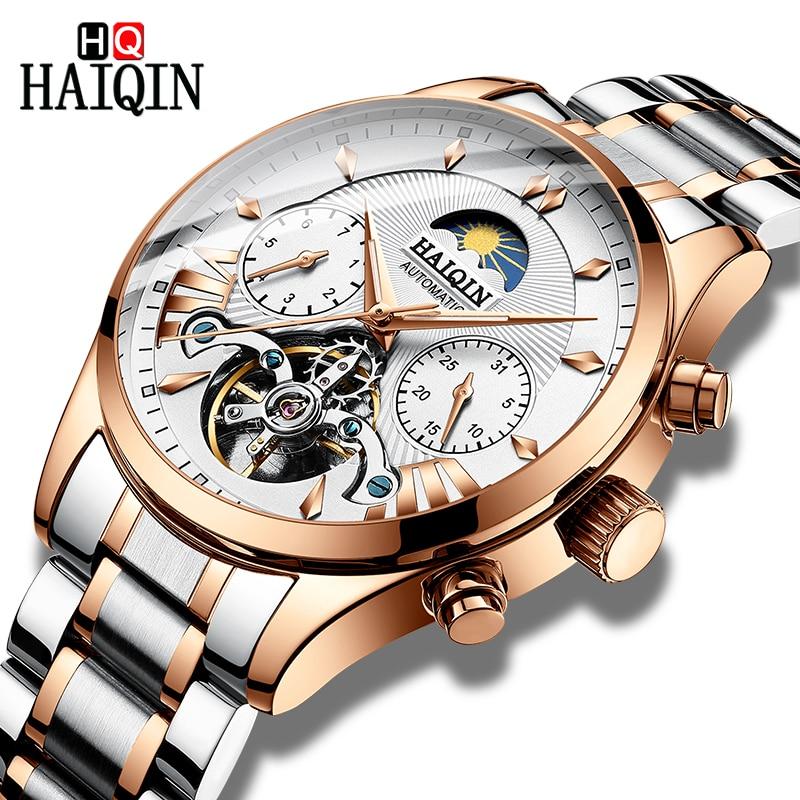 HAIQIN ผู้ชายนาฬิกาอัตโนมัติปฏิทินธุรกิจนาฬิกาข้อมือสแตนเลสกันน้ำกีฬานาฬิกาผู้ชาย reloj hombre-ใน นาฬิกาข้อมือกลไก จาก นาฬิกาข้อมือ บน   1