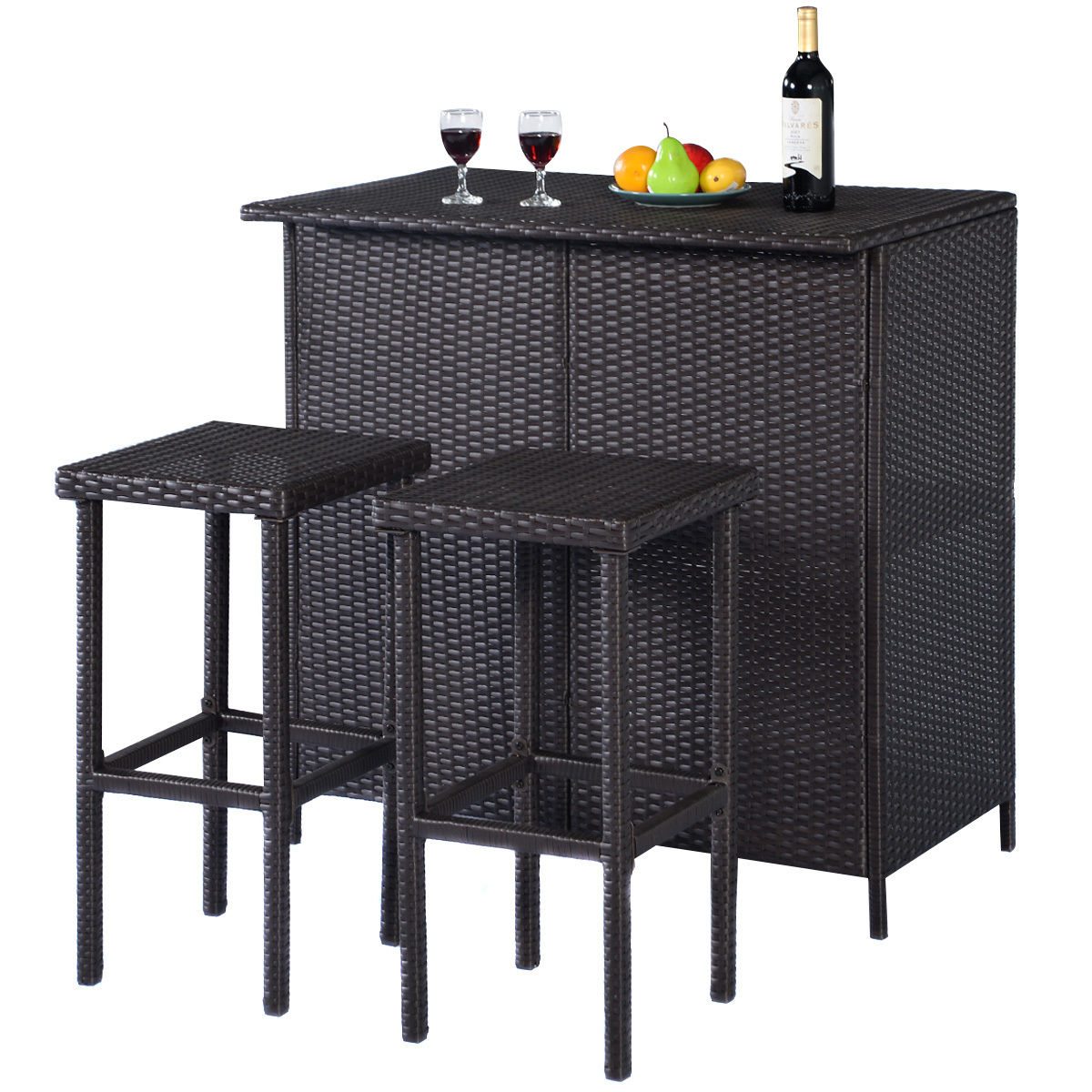 Costway 3PCS Rattan Wicker Bar Set Patio Outdoor Table & 2 Stools Furniture Brown