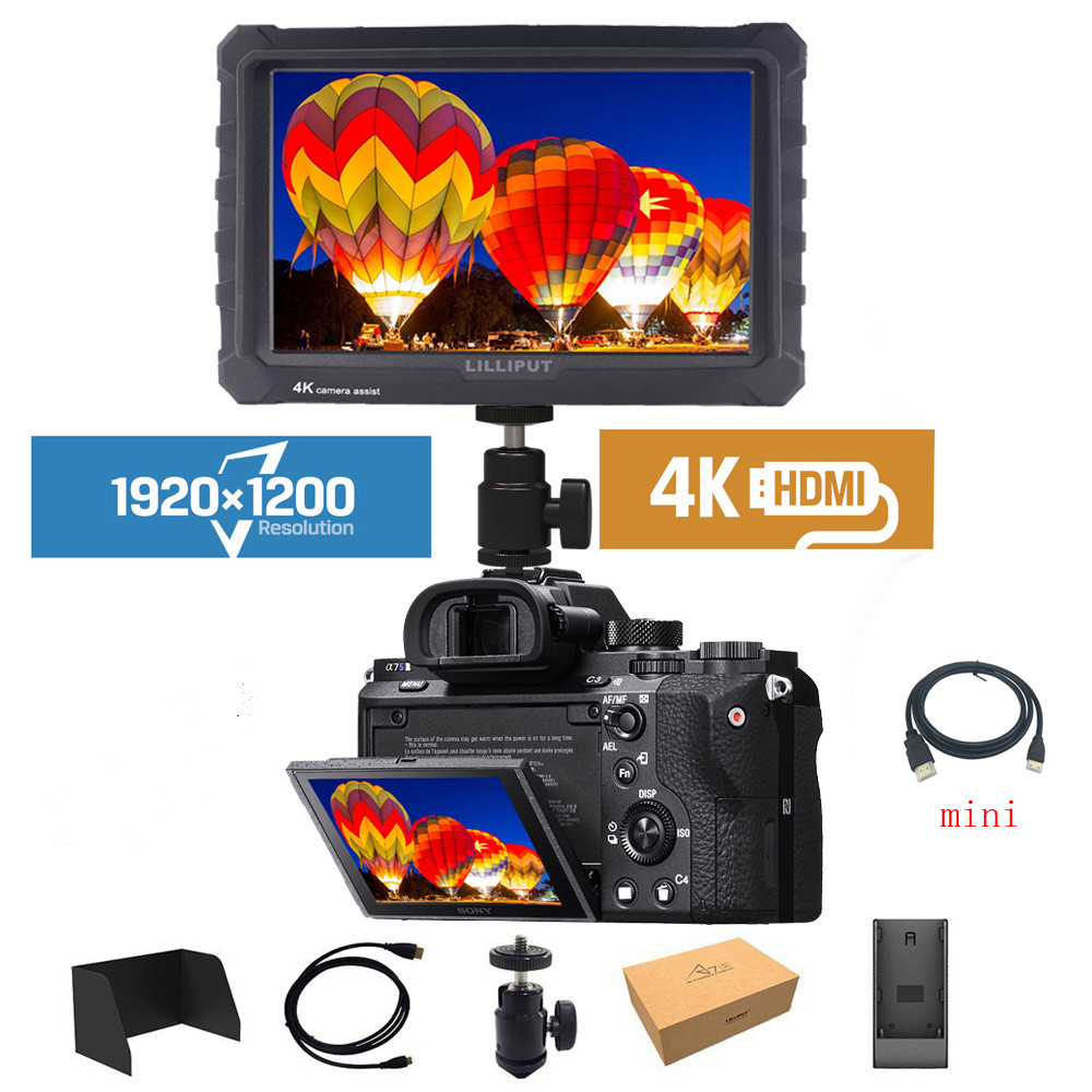 Lilliput A7s 4K Monitor 7 inch 1920x1200 HD IPS Screen 500cd m2 Field Camera Monitor 4K
