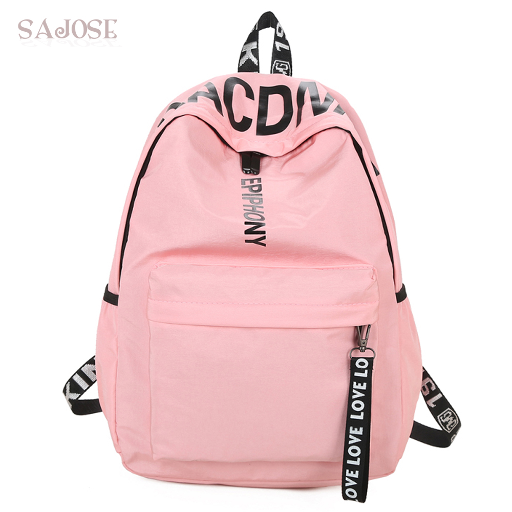 Women Canvas Backpack for School Teenagers Girls Casual Shoulder Bags Ladies Pink Letter Backpack Female Bookbag Student Bag women canvas backpack school bag for girl ladies teenagers casual travel bags schoolbag backpack b6702