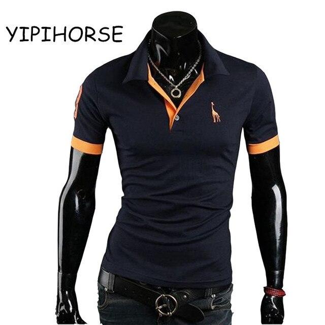 Europa tamanho mens marcas camisa polo 2017 manga curta masculina moda  casual fino falso bolso bordado 10cf8be3ba200