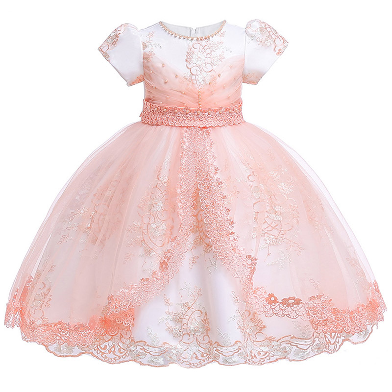 Summer Princess Flower Girl Dress for Wedding Birthday Party Lace beading Kids Dresses For Girls Children Teenager Prom Costume