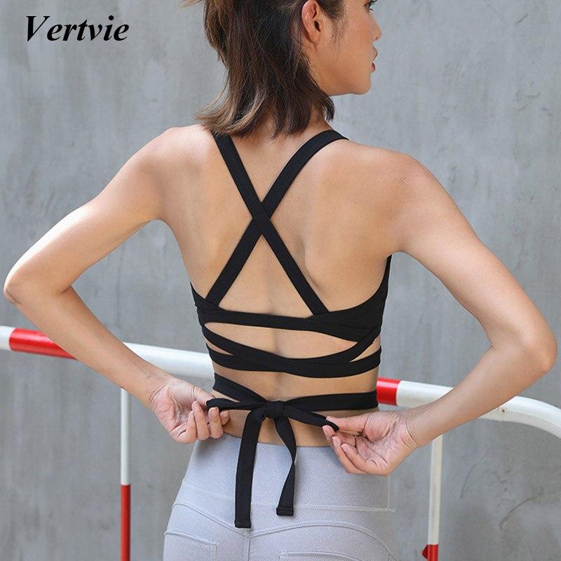 Vertvie Verband Frauen Sport-Bh Sexy Zurück Push Up Tops Tank Outdoor Sport Lauf Yoga Bras Snockproof Kleidung Unterstützung Neue