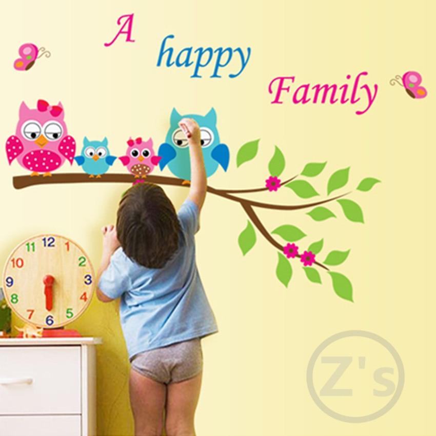 Zs Sticker Owls Wall Sticker for Kids Room family Home Decor Nursery ...