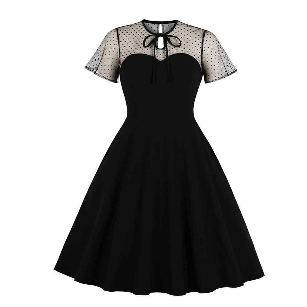 Рокабилли брошь на платье до платье халат Винтаж женское летнее платье повседневное 2019 Вечерние черные кружевные платья короткий рукав выдалбливают Jurk