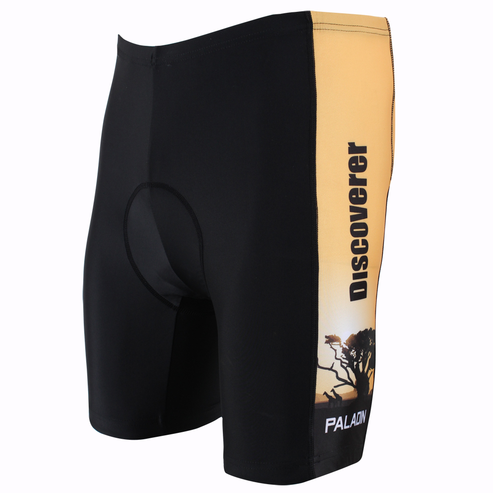 New Discovery Sunset and Trees Orange Lycra Men Silicone Damping Cycling Shorts Personality Breathable Cycling Trousers