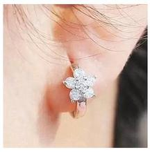 Free shipping 2014 new arrival flower shiny zircon 925 silver ladies clip earrings jewelry starfish wholesale 1pair/lot