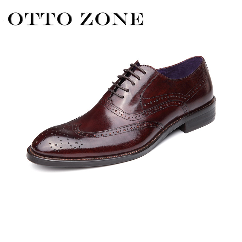 Shoes Original Italian Designer Oxford Vintage Dress Shoes Brand Genuine Leather Men Carved Casual Shoes Male Business Wedding Shoes Plus Size Cheap Sales