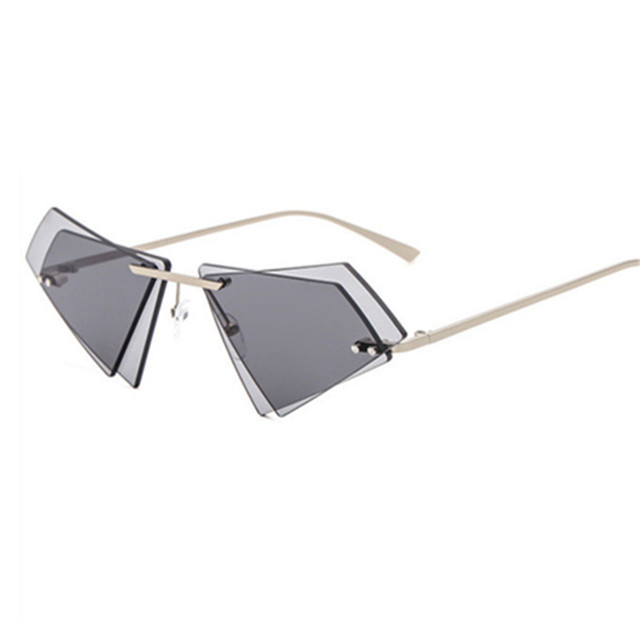 f314824042468 Double Lens Small Size Triangle Eyeglasses Rimless Cat Eye Sunglasses For  Women Men Candy Colors UV400
